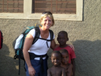 45 Pam with children outside mission house