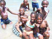 We brought 110 children to the beach for graduating to the next level in school