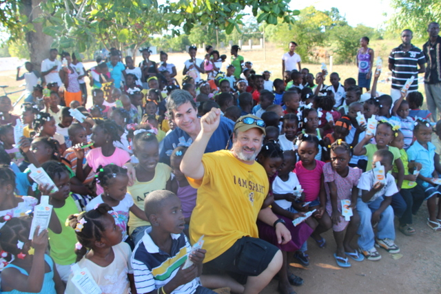 Dr. Dan hanging with the kids in Lac\'ajue