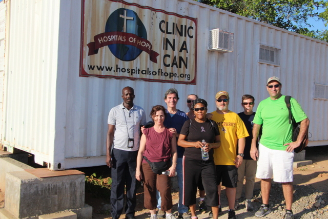 Dr. Dan and his team visiting Laca\'jue\'s new medical clinic