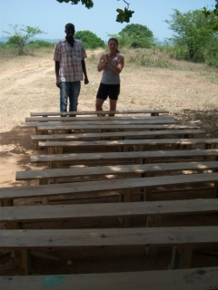 12 benches that were made for children in Lac'ajue
