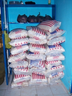 25 bags of rice to start our feeding program in Lac'ajue