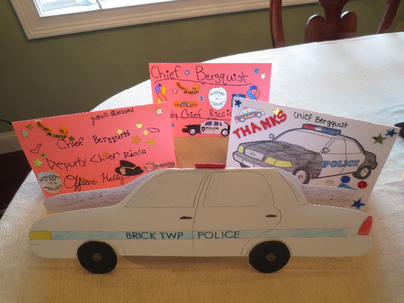 Thank you cards for Officer Jim Kelly and Chief of Police