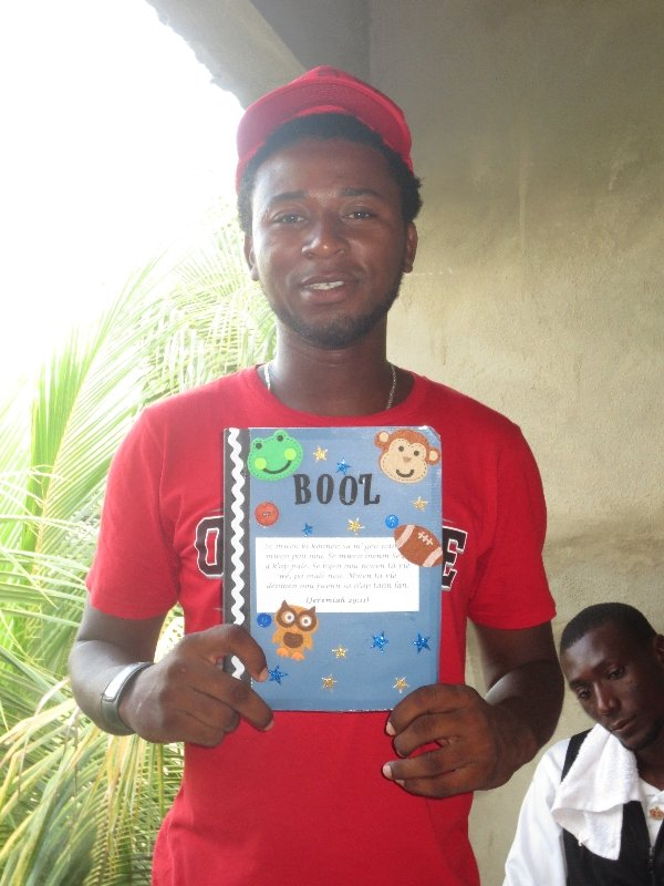 Boaz received his journal in Haiti from a student in Maple Leaf