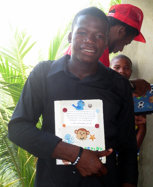 Lino received his journal in Haiti