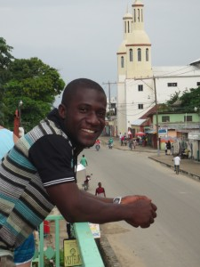 Judsen, with his church behind him.